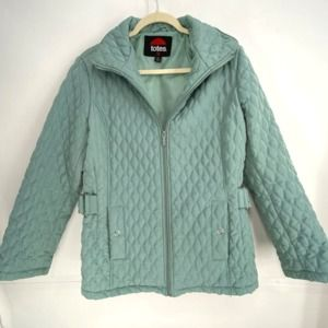 Totes Quilted Jacket Light Teal Sz M